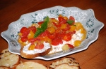 Ricotta Dip with Crushed Tomatoes and Bruschetta