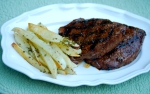 Balsamic Steak with Peppercorn Wedges