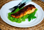 Spiced Grilled Salmon with Pea and Mint Mash