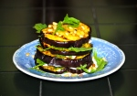 Aubergine Stacks with Pesto, Pine Nuts and Goat Cheese