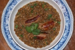 Sausages with Creamy Lentils