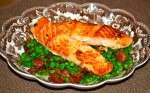 Pan-Fried Salmon with Crispy Bacon and Peas