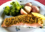 Salmon with a Mustard Pistachio Crust