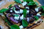 Pesto Pizza with Aubergine and Goat's Cheese