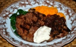 Steak with Onion and Sweet Potato Mash