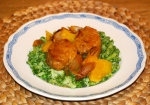 Orange and Rosemary Pork with Broccoli and Pea Crush