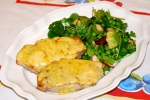 Rarebit Pork with Pea and Watercress Salad