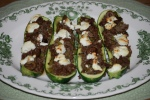 Courgettes Stuffed with Goat's Cheese and Lamb Ragout