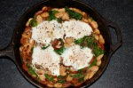 Butter Bean, Chorizo, and Spinach Baked Eggs